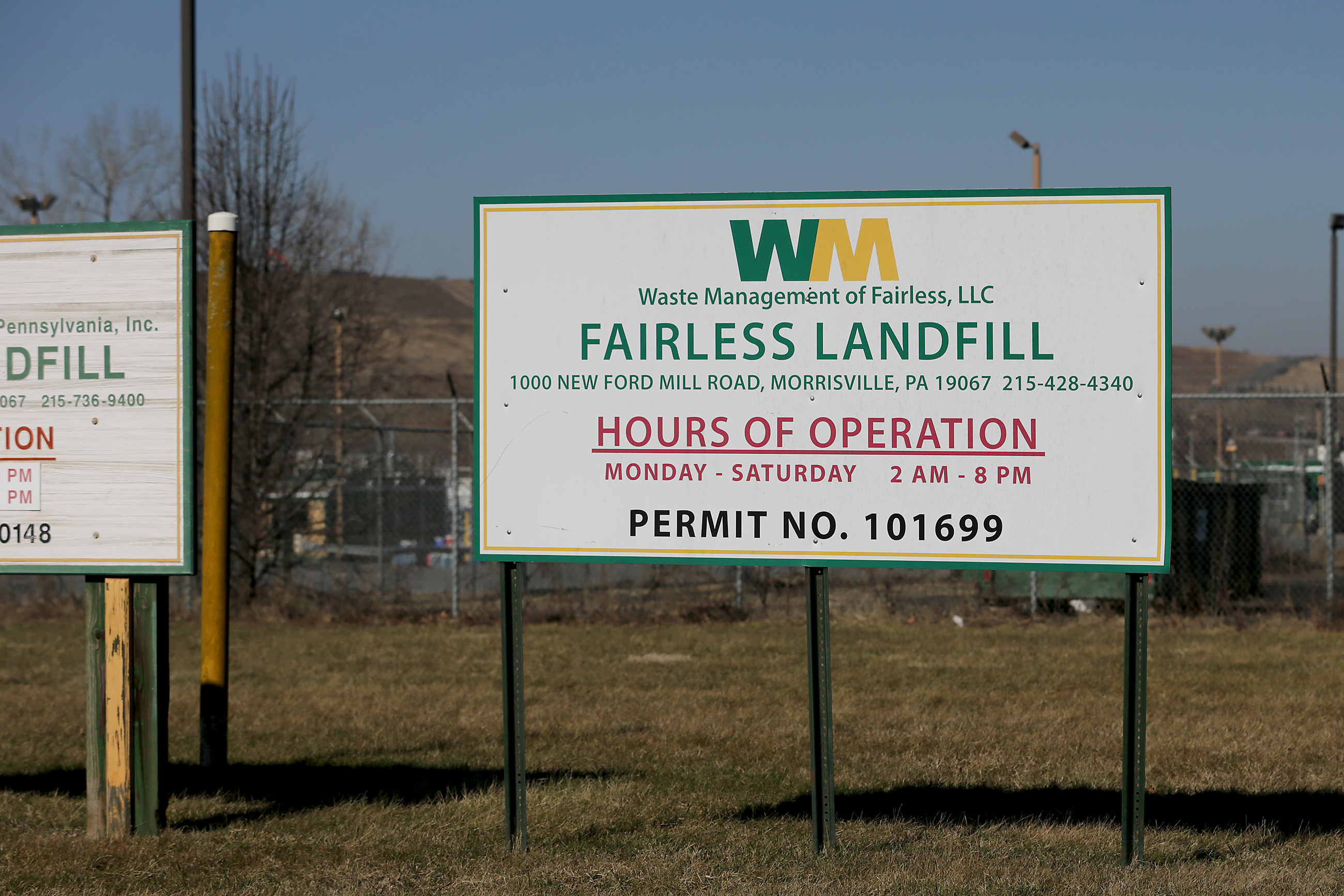 A sign sits outside the entrance to Waste Management's Fairless Landfill in Morrisville, PA on February 4, 2019.