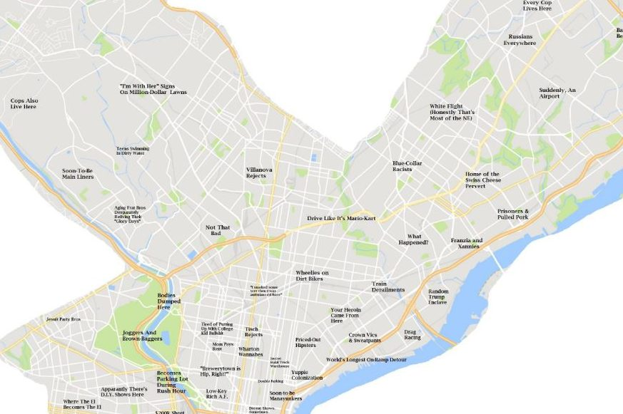Map Of Philadelphia Colleges He made a map of Philly's jerks   but he didn't want to be a jerk