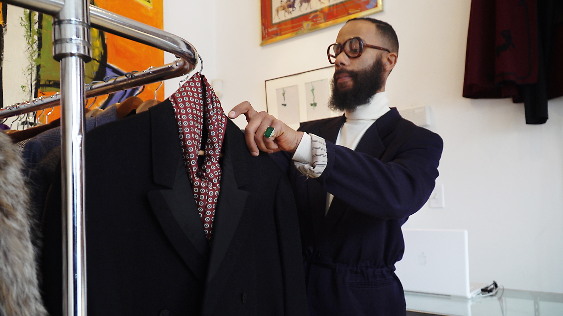 Erik Honesty curates and styles clothes from as early as the 1920s at his vintage menswear store in Germantown.